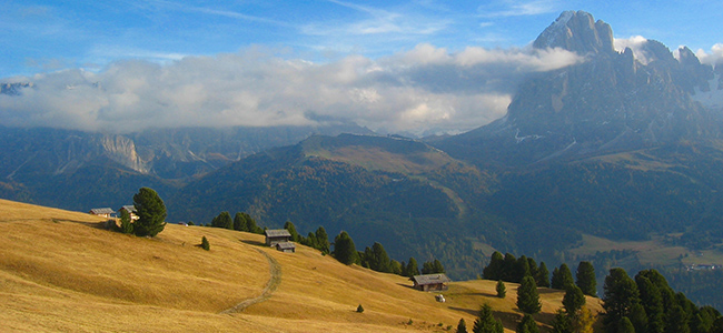 Autumn landscape in Val Gardena